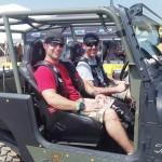 """John Owen Patterson sits passenger in Jeremy Hopper's """"Hellihopper"""" Jeep."""